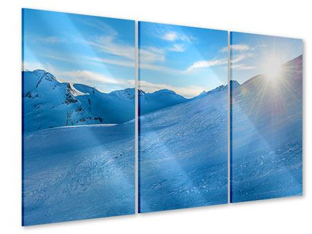 Acrylglasbild 3-teilig Sonnenaufgang in den Bergen