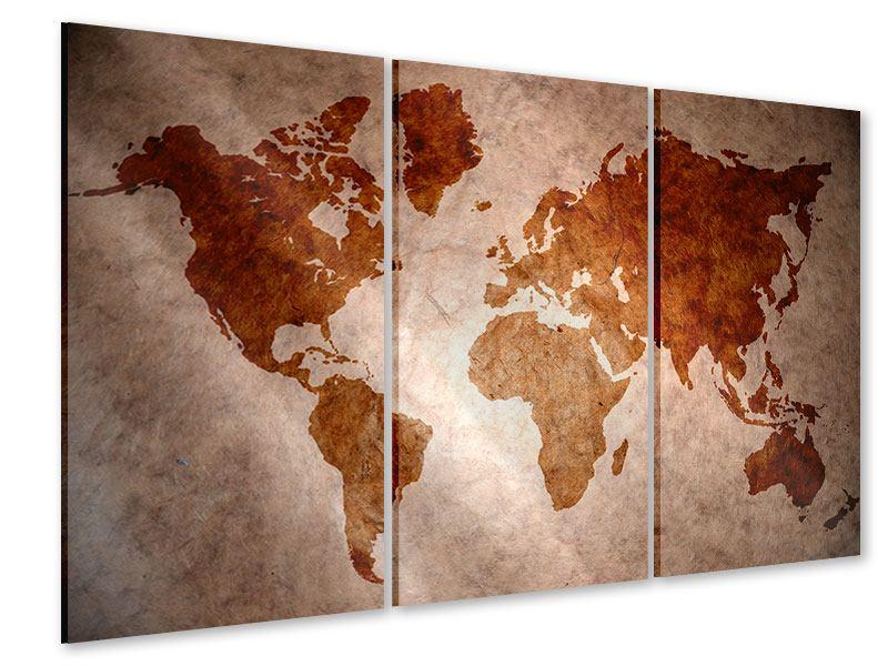 Acrylglasbild 3-teilig Vintage-Weltkarte