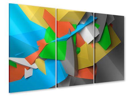 Acrylglasbild 3-teilig 3D-Geometrische Figuren