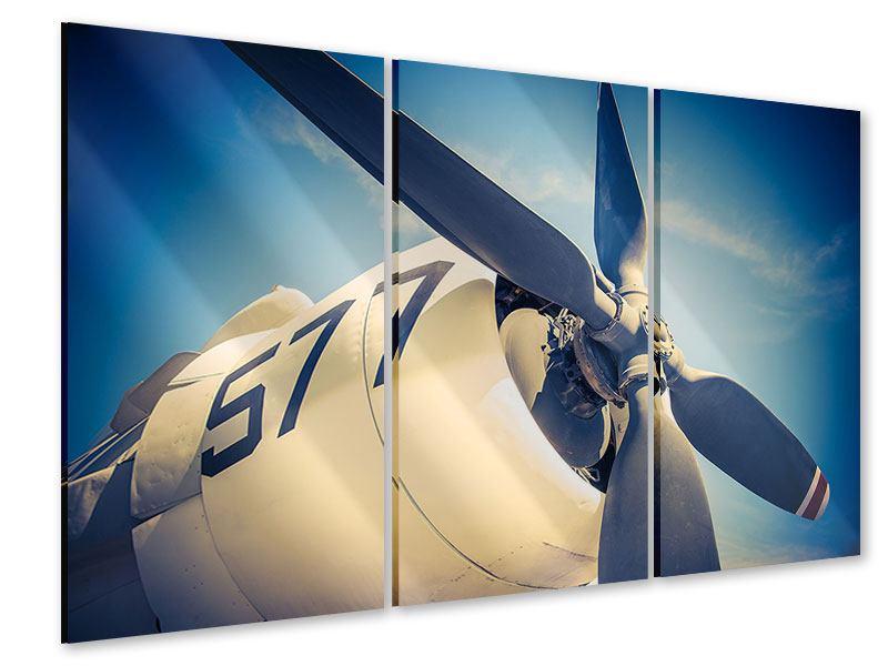 Acrylglasbild 3-teilig Close Up Propellerflugzeug