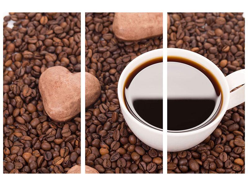 Acrylglasbild 3-teilig Pausenkaffee