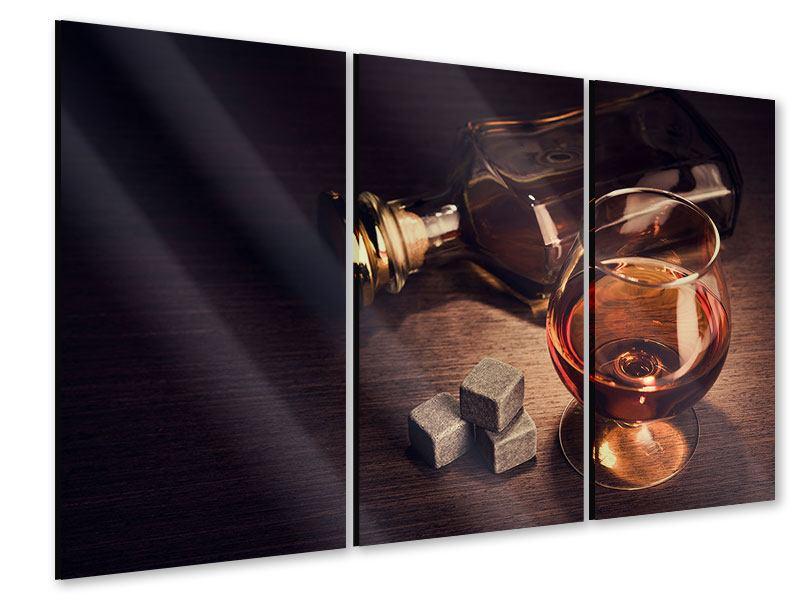 Acrylglasbild 3-teilig Ein Glas Cognac
