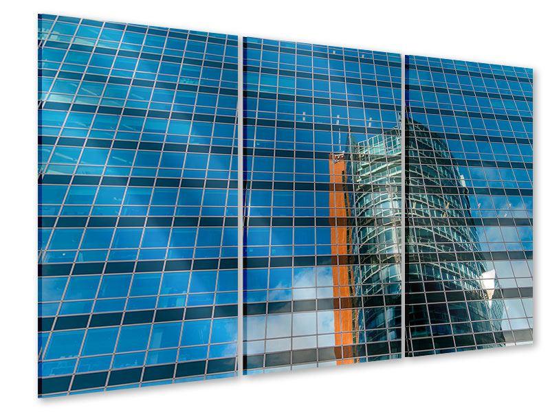 Acrylglasbild 3-teilig Wolkenkratzer-Spiegel