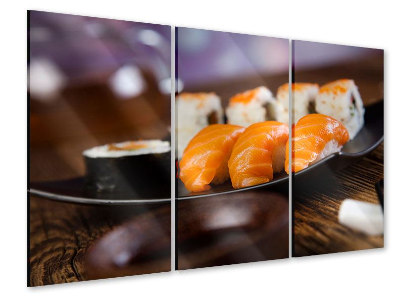 Acrylglasbild 3-teilig Sushi-Gericht
