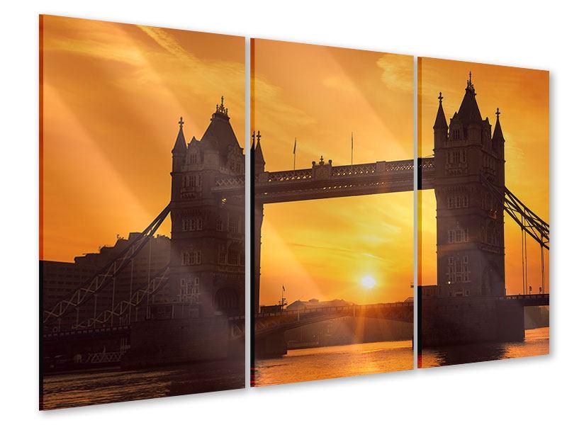 Acrylglasbild 3-teilig Sonnenuntergang bei der Tower-Bridge