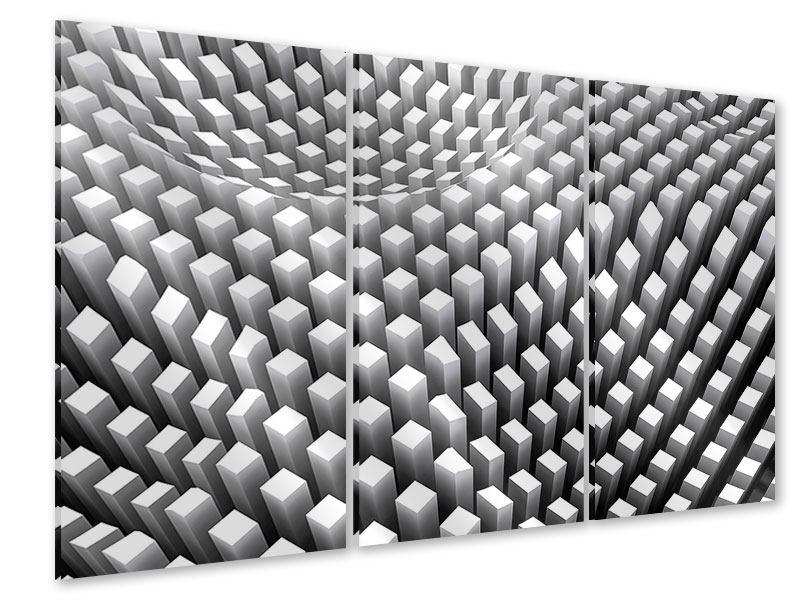 Acrylglasbild 3-teilig 3D-Rasterdesign