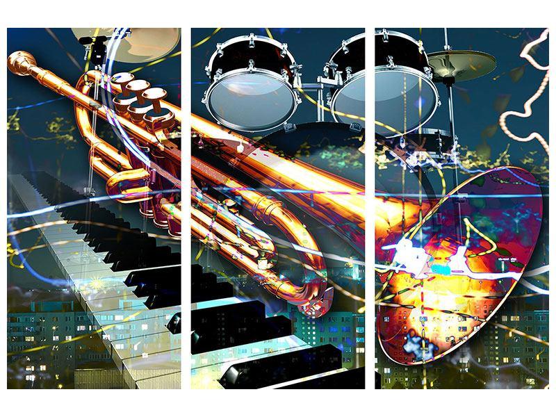 Acrylglasbild 3-teilig Let The Music Play