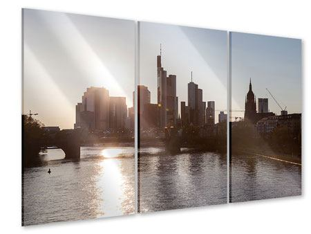 Acrylglasbild 3-teilig Skyline Sonnenaufgang bei Frankfurt am Main