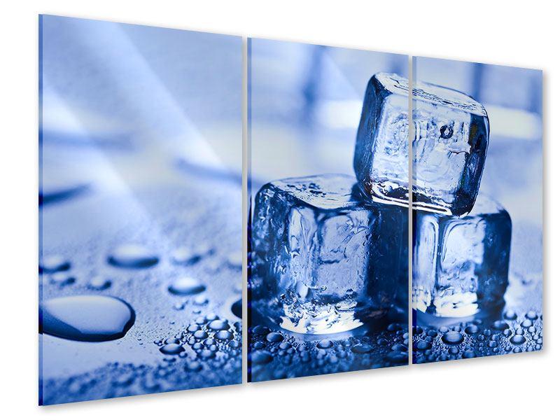 Acrylglasbild 3-teilig Eiswürfel