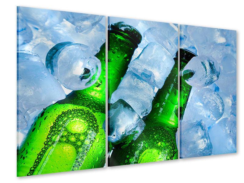 Acrylglasbild 3-teilig Eisflaschen