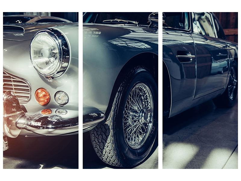 Acrylglasbild 3-teilig Classic Car