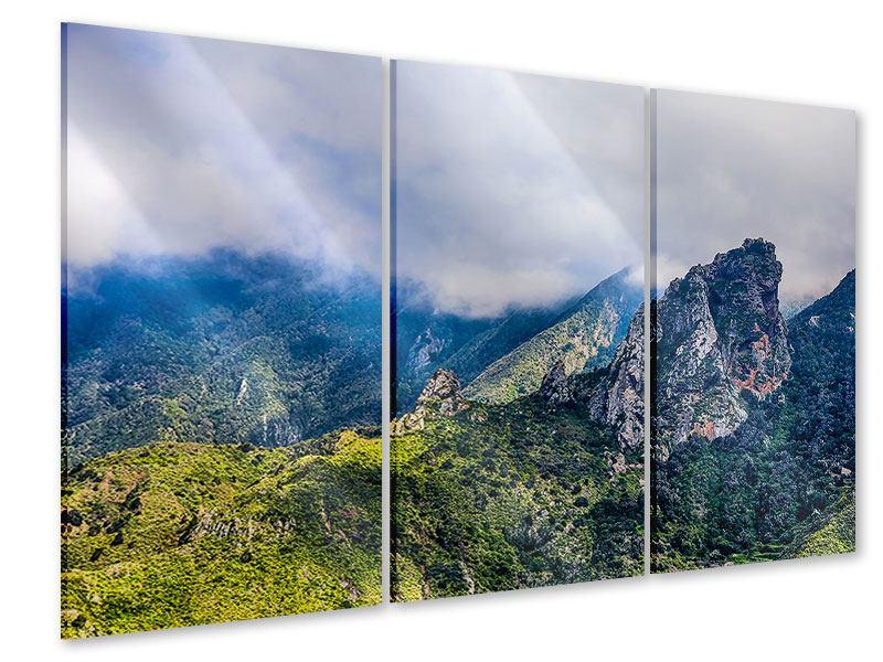 Acrylglasbild 3-teilig Der stille Berg