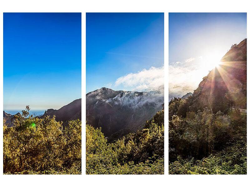Acrylglasbild 3-teilig Berge am Meer
