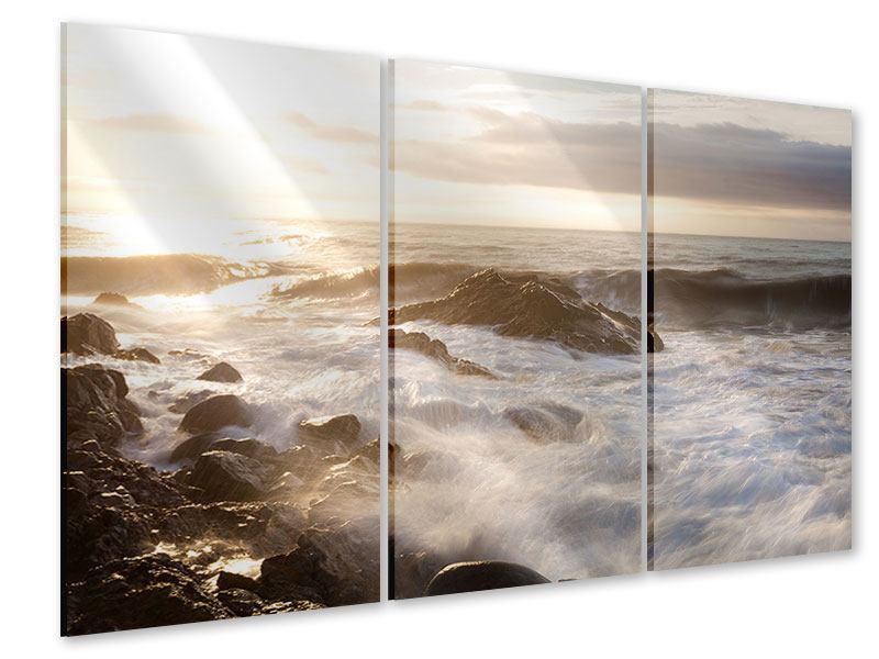 Acrylglasbild 3-teilig Meeresbrandung