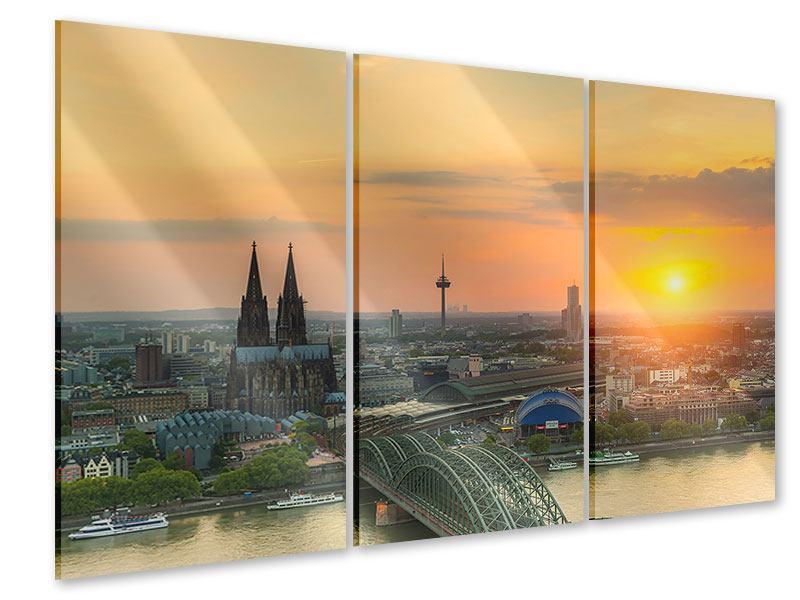 Acrylglasbild 3-teilig Skyline Köln bei Sonnenuntergang