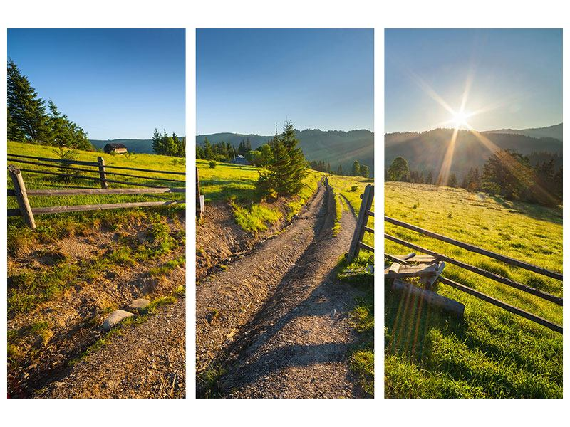 Acrylglasbild 3-teilig Sonnenaufgang am Berg