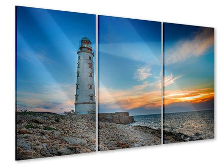 Acrylglasbild 3-teilig Sonnenuntergang am Leuchtturm