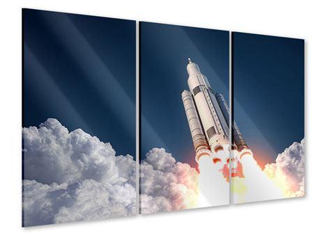 Acrylglasbild 3-teilig Raketenstart