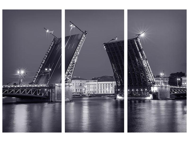 Acrylglasbild 3-teilig Klappbrücke bei Nacht