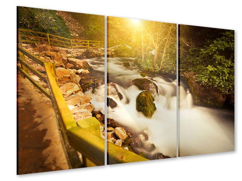 Acrylglasbild 3-teilig Sonnenuntergang am Wasserfall