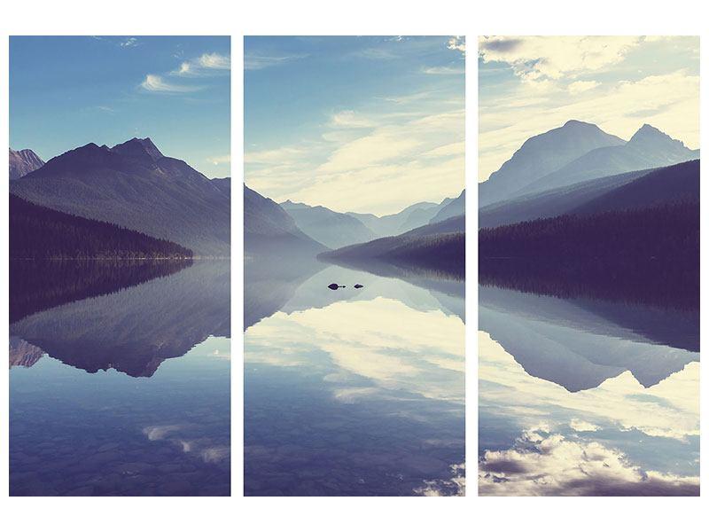 Acrylglasbild 3-teilig Bergspiegelung