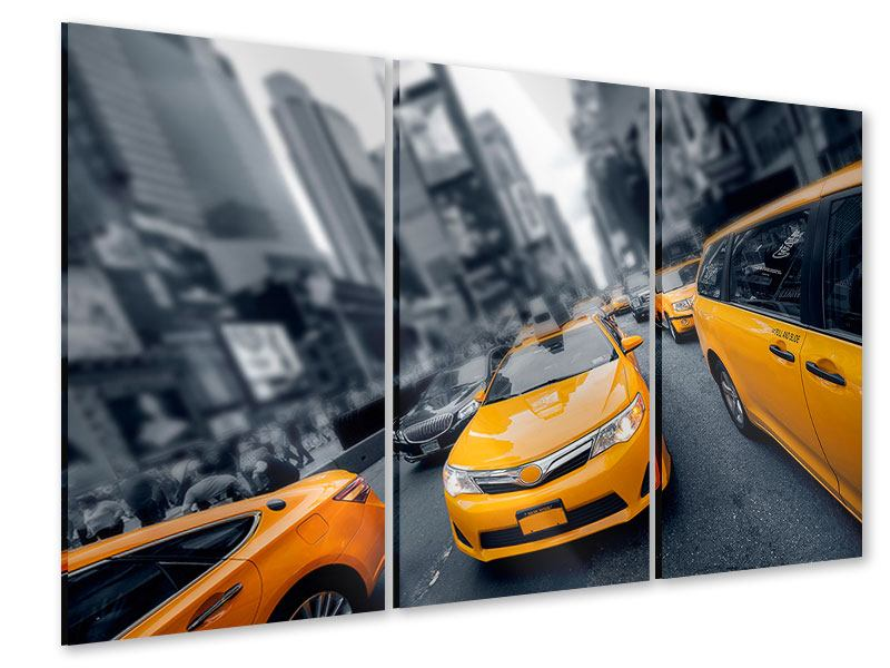 Acrylglasbild 3-teilig Taxi in NYC