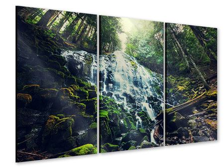 Acrylglasbild 3-teilig Feng Shui & Wasserfall
