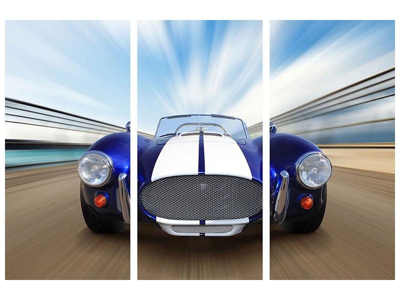 Acrylglasbild 3-teilig Rennwagen