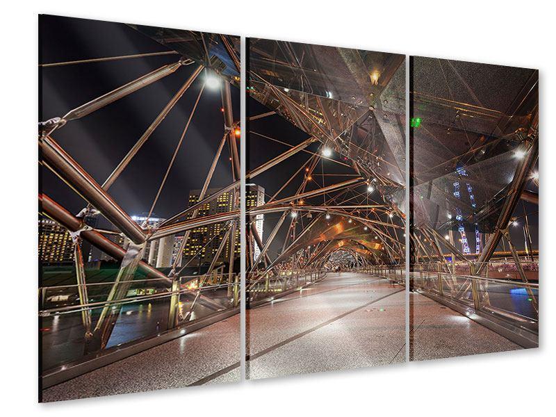 Acrylglasbild 3-teilig Brückenlichter