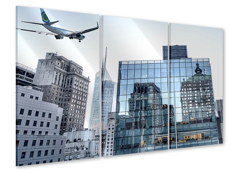 Acrylglasbild 3-teilig Wolkenkratzer NYC