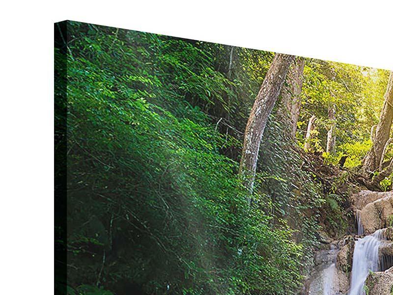 Acrylglasbild 3-teilig Terrasse am Wasserfall