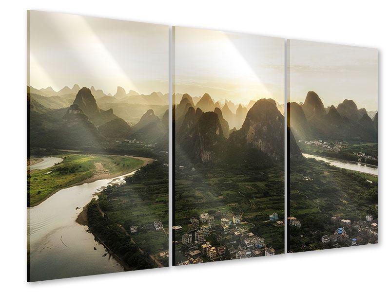 Acrylglasbild 3-teilig Die Berge von Xingping