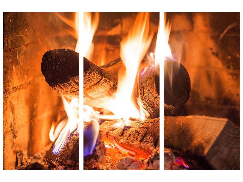 Acrylglasbild 3-teilig Kaminfeuer