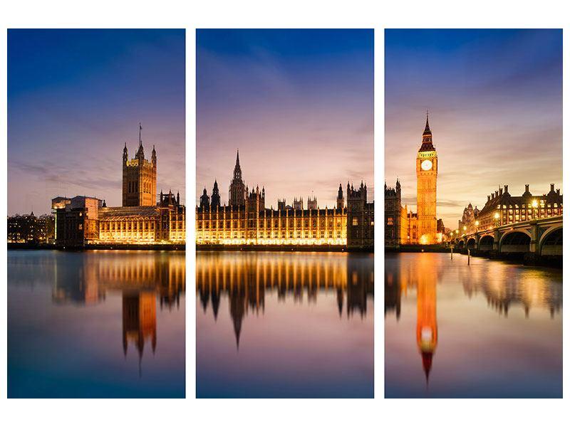 Acrylglasbild 3-teilig Big Ben in der Nacht