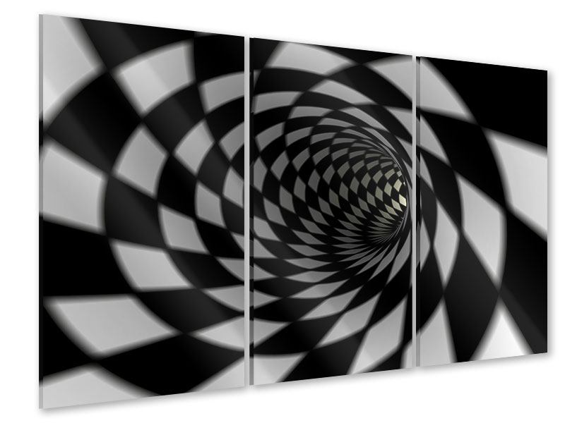 Acrylglasbild 3-teilig Abstrakter Tunnel Black & White