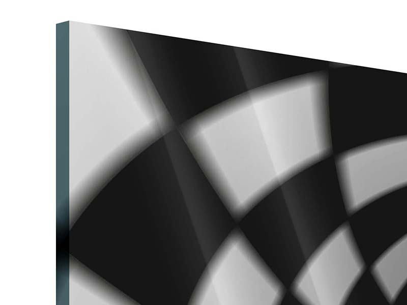 Acrylglasbild 3-teilig Abstrakter Tunnel Black & White