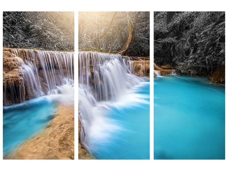 Acrylglasbild 3-teilig Glücklicher Wasserfall