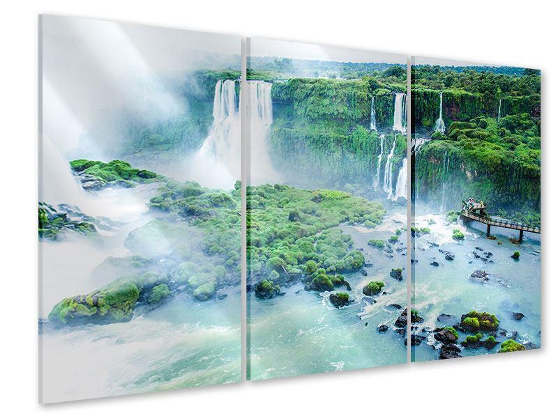 Acrylglasbild 3-teilig Wasserfälle