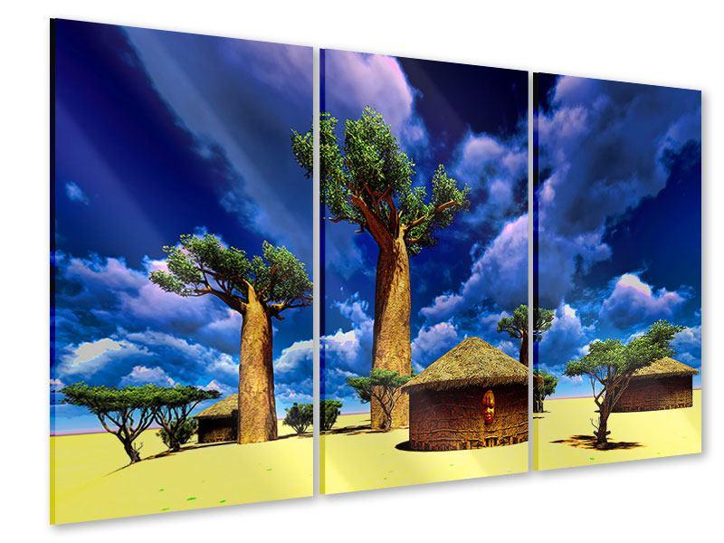Acrylglasbild 3-teilig Ein Dorf in Afrika