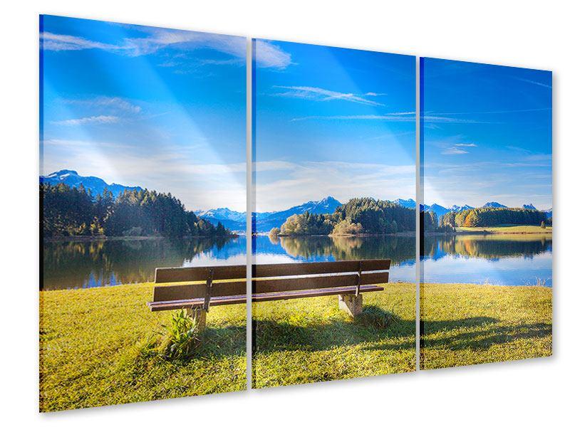 Acrylglasbild 3-teilig Sitzbank mit Bergpanorama