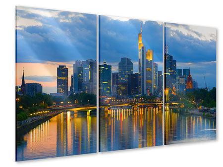 Acrylglasbild 3-teilig Skyline Frankfurt am Main