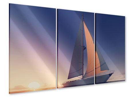 Acrylglasbild 3-teilig Das Segelschiff