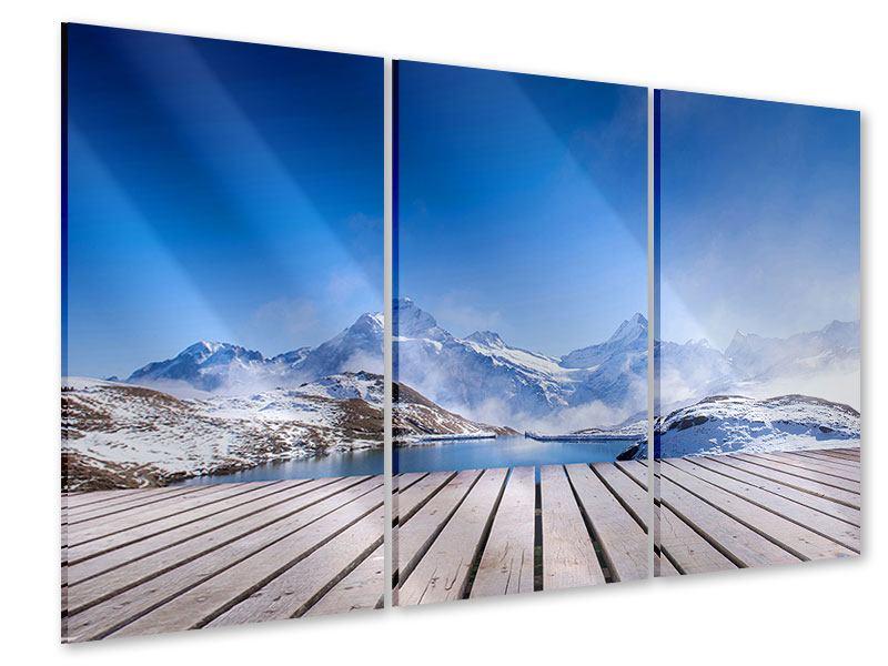 Acrylglasbild 3-teilig Sonnenterrasse am Schweizer Bergsee