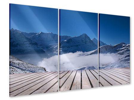 Acrylglasbild 3-teilig Sonnenterrasse in den Schweizer Alpen