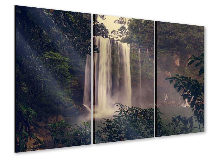 Acrylglasbild 3-teilig Wasserfall in Mexiko