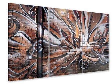 Acrylglasbild 3-teilig Graffiti Mauer