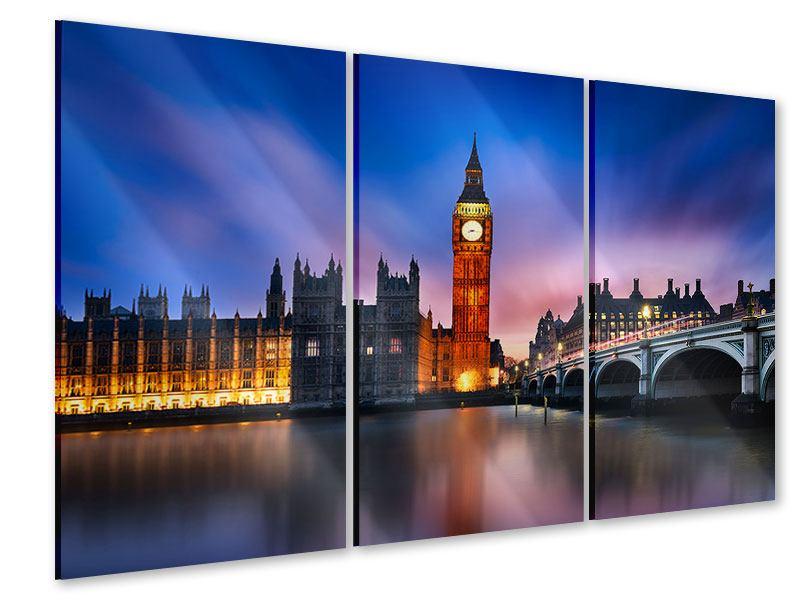 Acrylglasbild 3-teilig Nachts am Big Ben