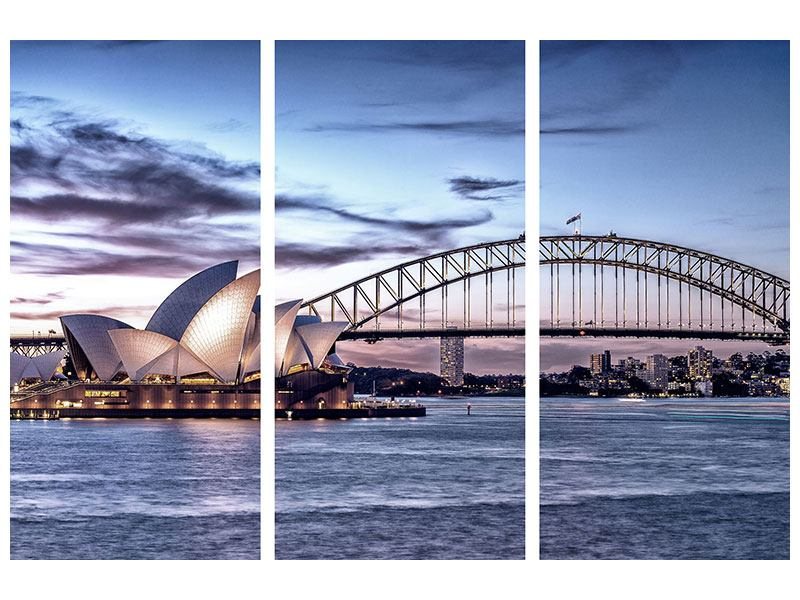 Acrylglasbild 3-teilig Skyline Sydney Opera House