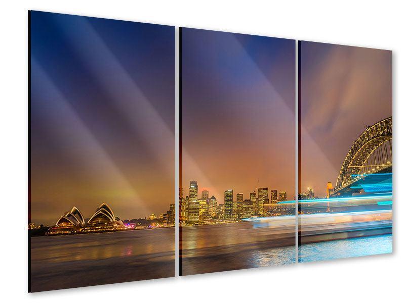 Acrylglasbild 3-teilig Skyline Opera House in Sydney im Abendlicht