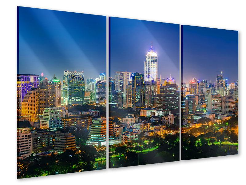 Acrylglasbild 3-teilig Skyline One Night in Bangkok